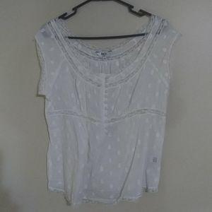 White button up sleeveless summer blouse, 14